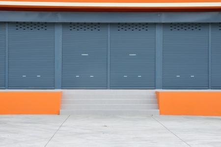 Closed door of new modern warehouse building