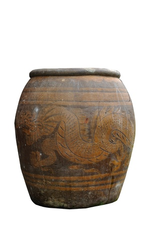 Ancient water jar with dragon isolated on white background, clipping path included