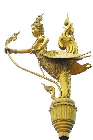 Thai half-bird half-woman isolated on white background