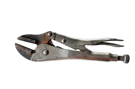 Old used pliers  isolated on white background photo