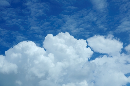 White clouds in blue sky  photo