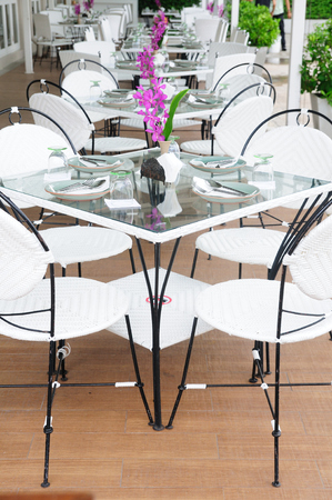 Luxury dinner tables sets outside restaurants, Thailand  Stock Photo
