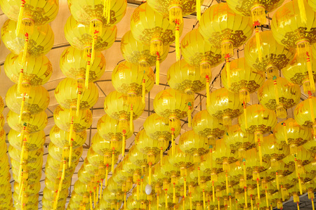 Yellow lamps for Chinese Vegetarian Festival, Thailand  photo
