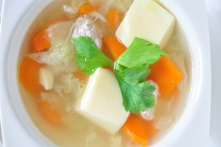 Chinese soups with lot of vegetables, healthy-meal and yummy photo