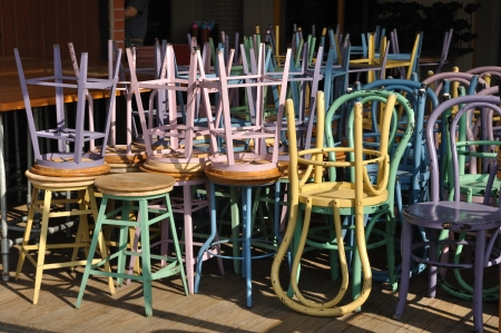 Many iron colour chairs keeping by upside down  Stock Photo - 23811281