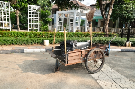 Cleaning equipment on trolley in village  photo