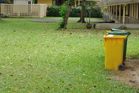Yellow and green bins in garden photo