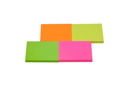 Color post-it on white background