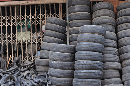Many used tires on side road