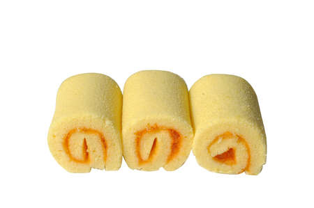 Mini orange jam rolls isolated photo