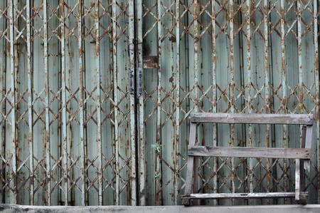 detain: Ancient iron sliding door closed