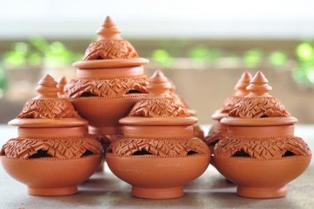 Thai traditional clay pottery in Koh Kred island, Thailand