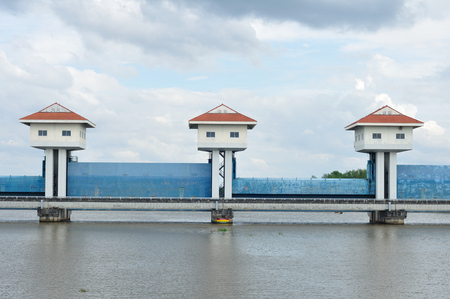 Landscape view, barrage towers in Thailand  Stock Photo