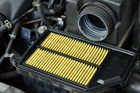 spare: Processing to change engine air-filter at maintenance-center Stock Photo
