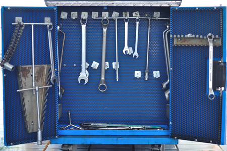 various engineer tools and equipment for work  photo