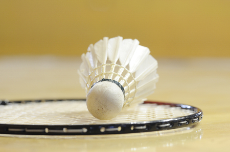 White shuttlecock lay down on racket in gymnasium  photo