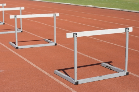 Many hurdle races on race tracks