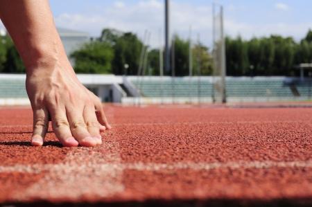 Runner starting action on racecourse