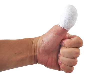 Man thumb bandage from accident  Stock Photo