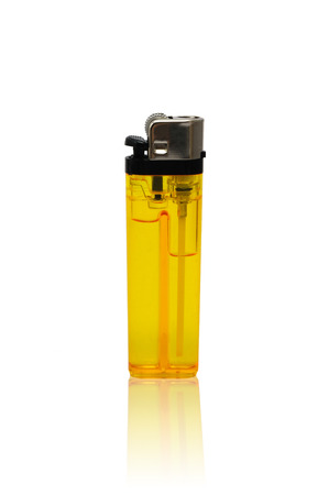 Yellow lighter isolated on white background, clipping path  Stock Photo