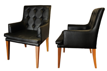 Black leather armchair isolated, clipping path  photo