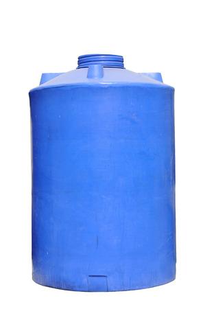 dep�sito agua: Tanque de agua azul aislado en fondo blanco Foto de archivo