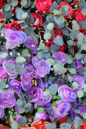 artificially: Artificially flowers sale in market fair.