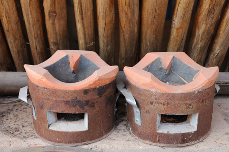 Double Thailand traditional clay stove photo