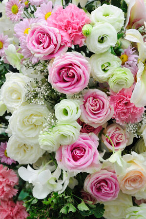 Pink and white roses display. photo