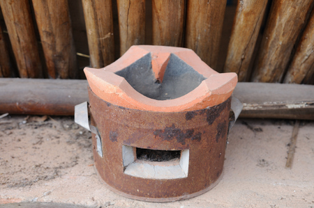 Single Thailand traditional clay stove.