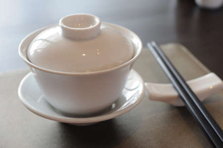 Chinese dinner set on table. photo