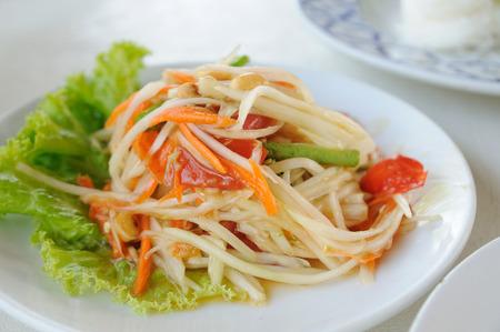 Green-papaya-salad, Thaland favorite food on table.