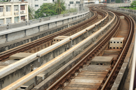 Sky-train curve railway in Bangkok, Thailand. photo