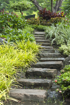 oxigen: Natural stone stairs landscaping in home garden