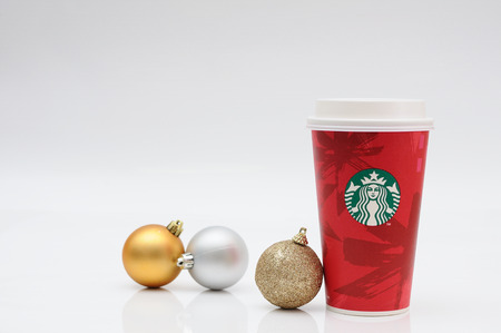 chirstmas: BANGKOK NOV 19: Starbucks coffee cup for take away with balls for Chirstmas festival on November 19, 2014 Bangkok, Thailand.