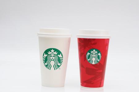 chirstmas: BANGKOK NOV 19: Starbucks coffee cup for take away for Chirstmas festival on November 19, 2014 Bangkok, Thailand.