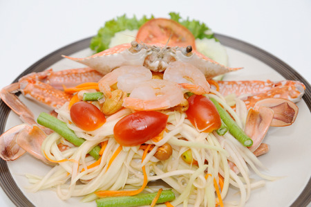 blue swimmer crab: Thai food papaya-salad with fresh crab.