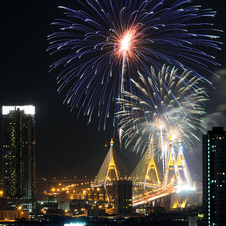 seventh: BANGKOK - DEC05: Fireworks for Thailand King Majesty Bhumibols eighty seventh 87th anniversary at Bhumibol Bridge on December 05, 2014 in Bangkok Thailand.