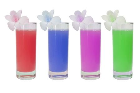 leguminosae: 4 glasses of various fruit juices on white background Stock Photo
