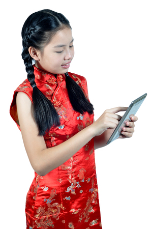 traditions: Asia female teenager actions isolated on white background, Chinese New Year traditions Stock Photo