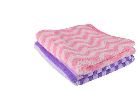 bathtowel: Purple and pink bath-towel stacking on white background