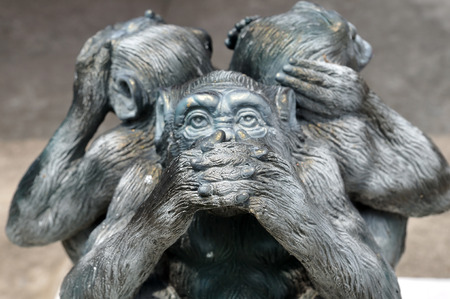 Three wise monkeys or Three Mystic Apes sacred ancient icon Stok Fotoğraf - 40442681