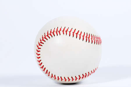weave ball: Single baseball with red knit. Stock Photo