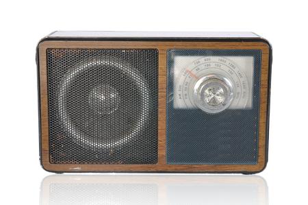 shortwave: Classic vintage radio isolated on white background.