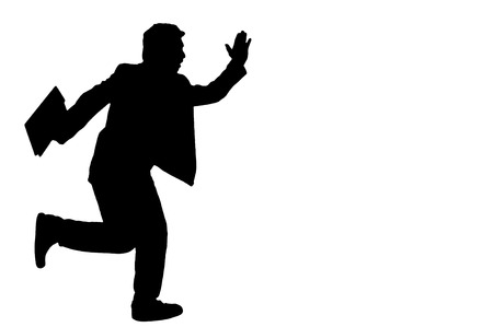 Asian business man hold briefcase and running, silhouette in studio isolated on white background with clipping path.