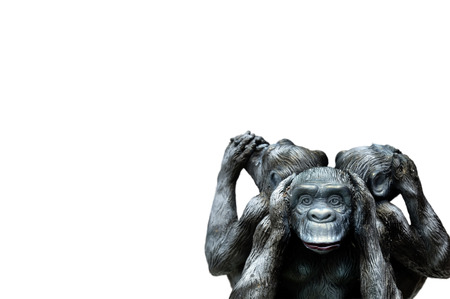 Three wise monkeys or Three Mystic Apes sacred ancient icon isolated on white background with clipping path. Standard-Bild