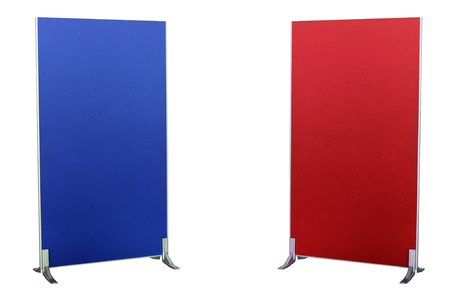 screen partition: Blue and red partition boards isolated on white background with clipping path Stock Photo