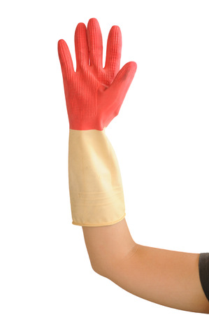 two tone: Hand with two tone rubber glove isolate on white background.