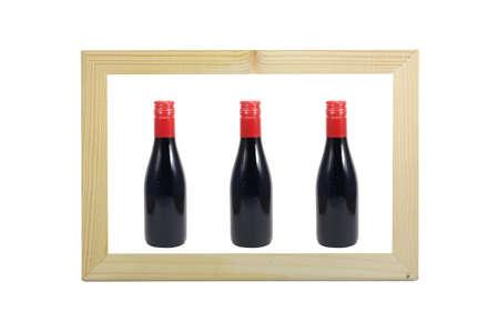 peg board: Bottle of wine in wooden frame