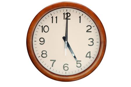 Vintage circle klok houten frame te isoleren op een witte achtergrond Stockfoto
